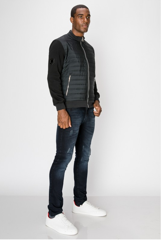 Men's Bomber Jacket with Horizontal Quilted Panels - Black