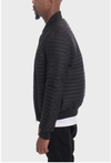 Stripe Quilted Bomber Jacket - (Color Black)