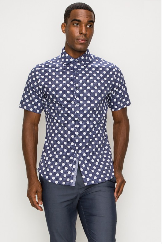 Polka Dot Men's Casual Dress Shirt (Blue & White)