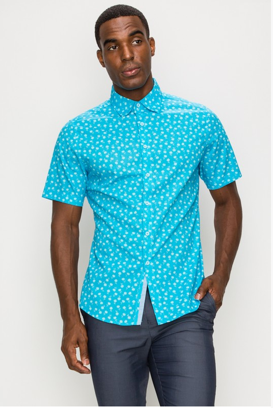 Men's Snow-Flakes Print Casual Dress Shirt (Color Teal)