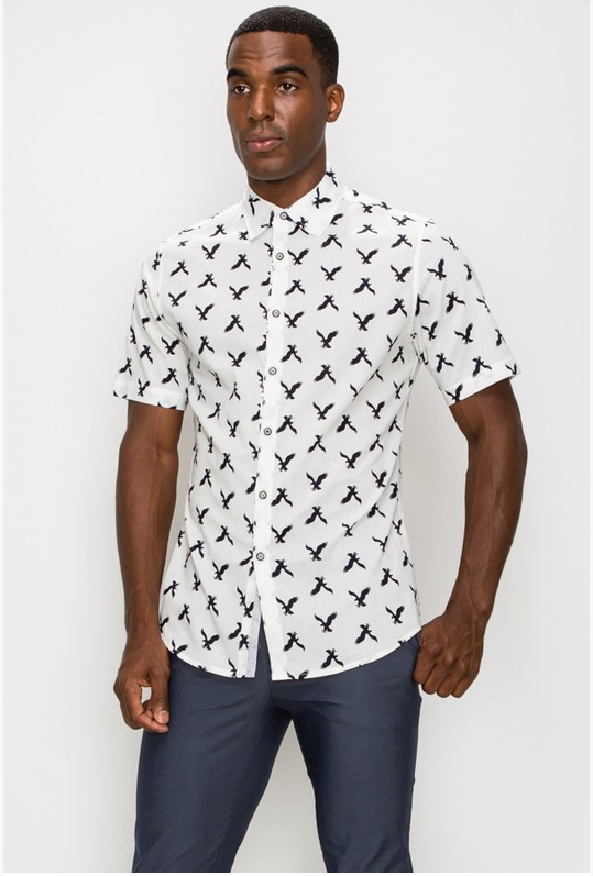 Men's Bird Print Casual Dress Shirt (Color white)