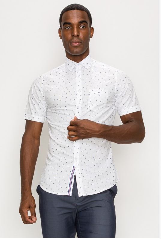 Men's Pindot Custom Print Casual Dress Shirt (Color white)