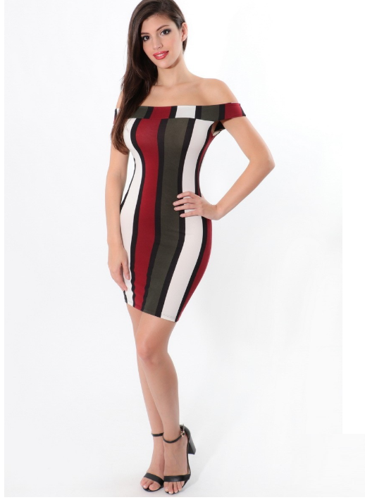 She-Knows Color Pattern Midi Dress (Burgundy)