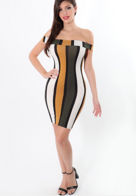She-Knows Color Pattern Midi Dress