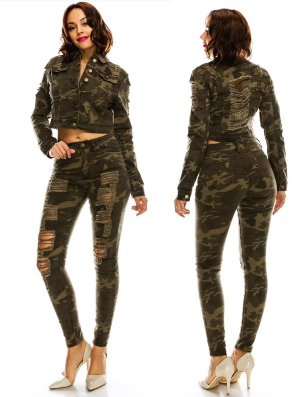 GET THE LOOK: Women's High-Rise Destroyed Camo Skinny Jeans with Matching Top