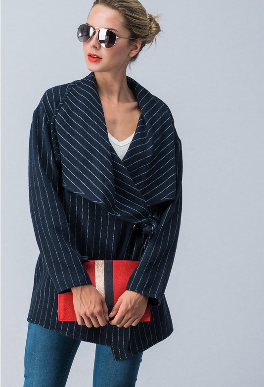 Chic Stripped Wrap Coat with Waist Tie (Black)