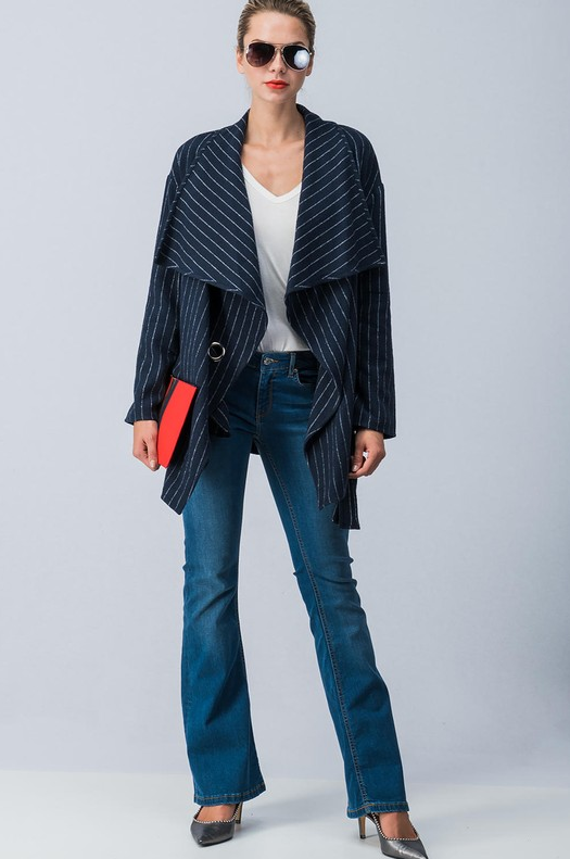 Chic Stripped Wrap Coat with Waist Tie (Navy Blue)