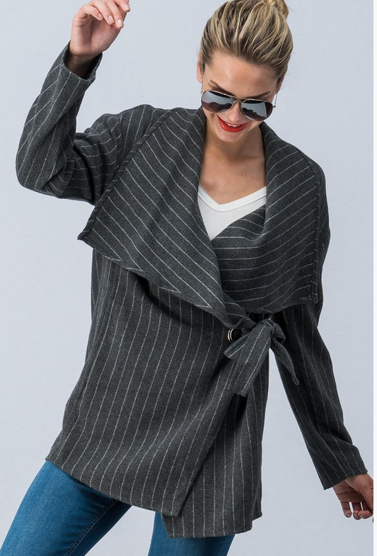 Chic Stripped Wrap Coat with Waist Tie (Gray)