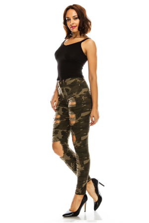 Women's High-Rise Destroyed Denim Skinny Jeans - CAMO