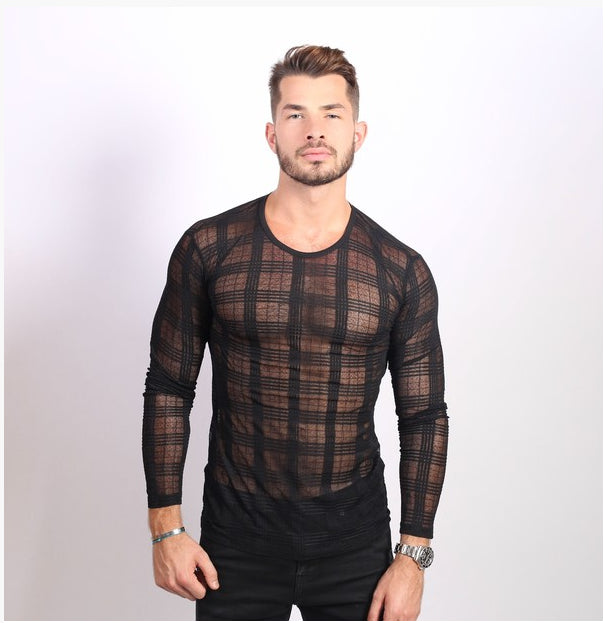 Men's See Through Crew Neck Knit Shirt