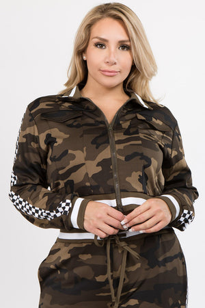 Camo Speed Racer Designed Jacket & Jogger Set (Plus Size)