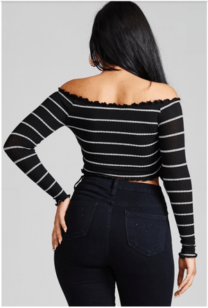 Women's Ribbed-Knit Striped Crop Top