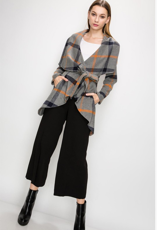 Shawl Collar Open Drape Coat with Belt (Plaid, Charcoal)