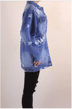 I Do, What I Want Printed Distressed Denim Jeans Jacket