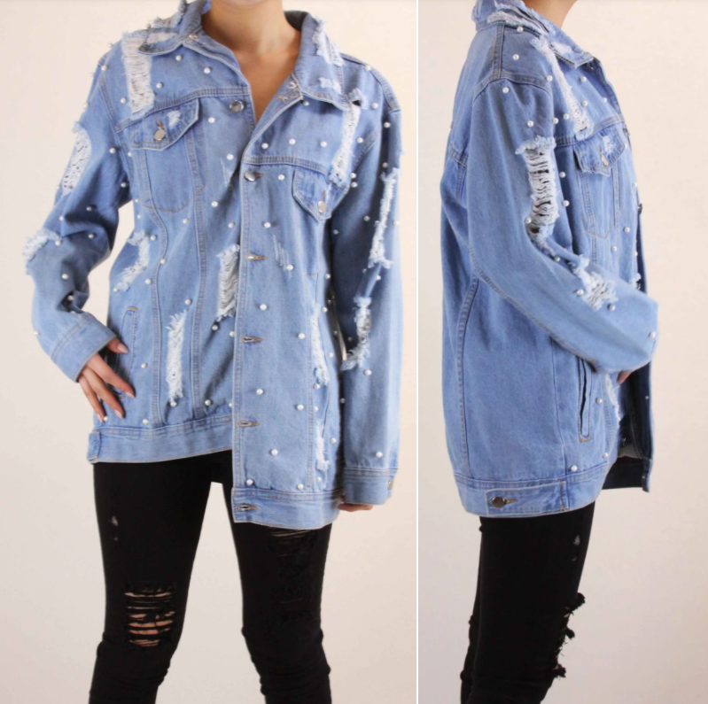 Distressed Light Blue Denim Jacket