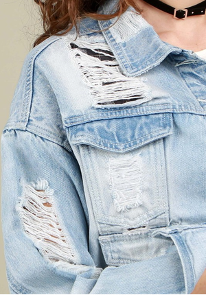 Distressed Denim Jacket with Plaid Detail