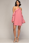 Flounce Off-Shoulder Dress (Rosy Mauve Color)