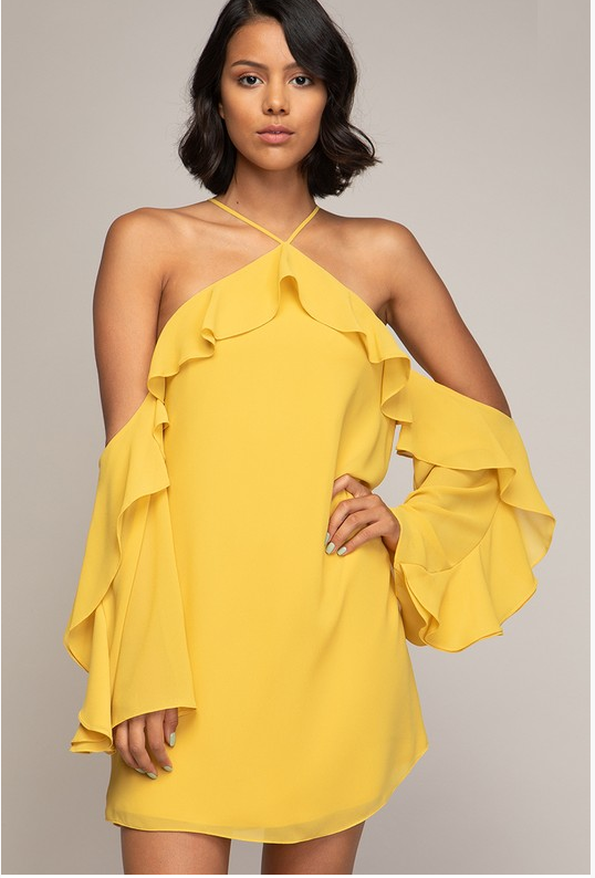 Flounce Off-Shoulder Dress (Mustard Color)