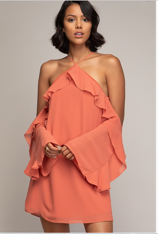 Flounce Off-Shoulder Dress (Sedona Color)