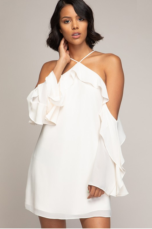 Flounce Off-Shoulder Dress (Color White)