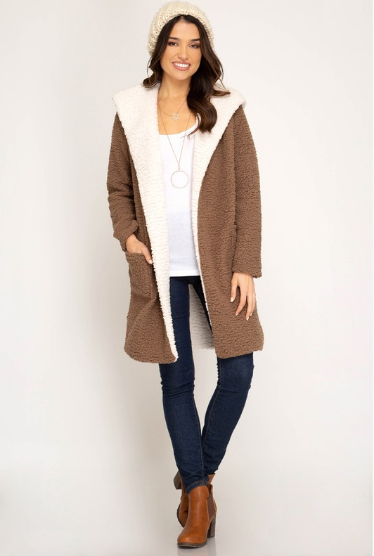Shearling Hoodie Fleece Coat (Color Mocha)