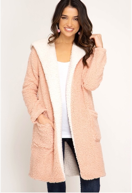 Shearling Hoodie Fleece Coat (Color Rose Gold)