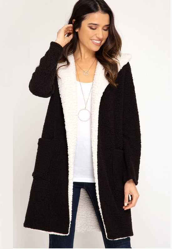 Shearling Hoodie Fleece Coat (Color Black)