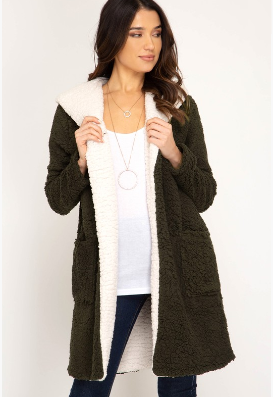 Shearling Hoodie Fleece Coat (Color Olive)