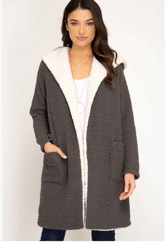 Shearling Hoodie Fleece Coat (Color Gray)