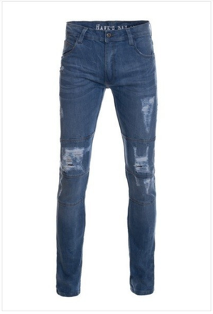 Moto Style Distressed Stressed Jeans