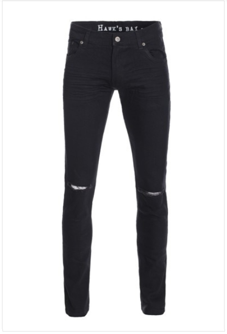 Knee Ripped Stretched Skinny-Biker Jeans