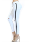 Women's Knee Slit Basic Joggers with Side Stripe