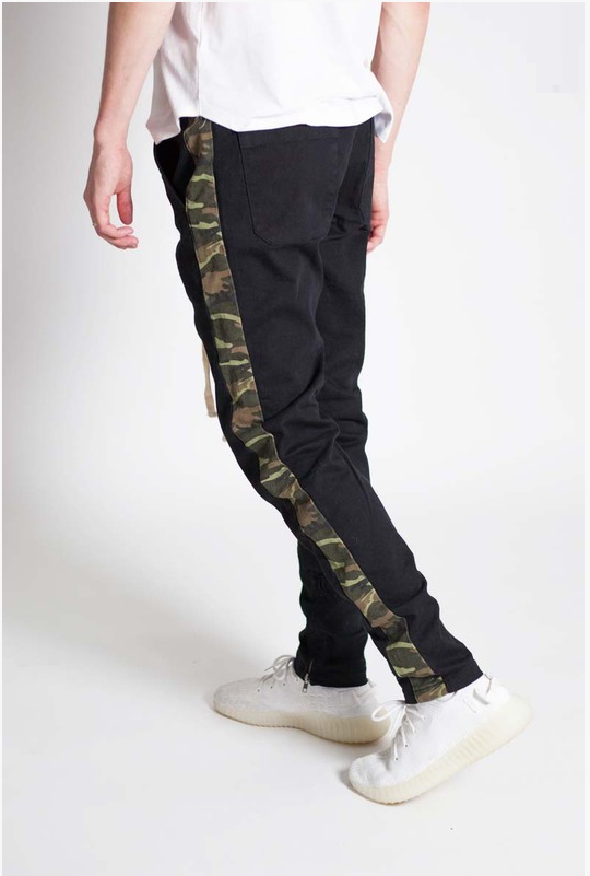 Camo Striped Skinny Pants - (Ankle Zipper Detail)