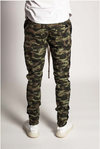 Camo Joggers with Black Stripe - (Ankle Zipper Detail)
