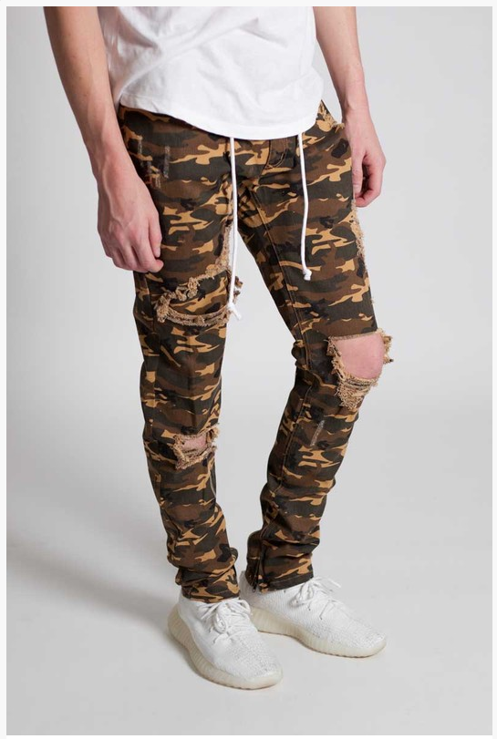Camo Distressed Skinny Pants - (Ankle Zipper Detail) Color Camel