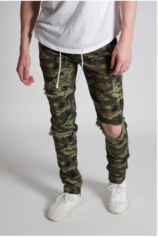 Camo Distressed Skinny Pants - (Ankle Zipper Detail)