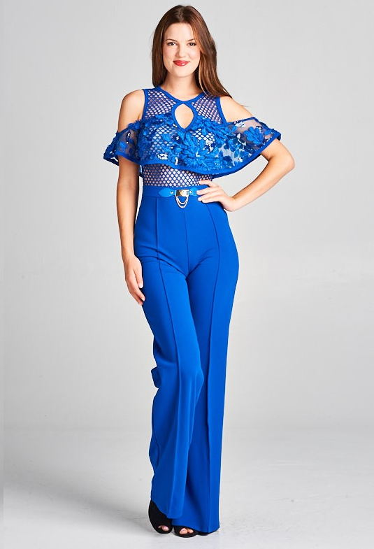 Cold Shoulder Lace Top Jumpsuit with Buckle Detail (Royal Blue)