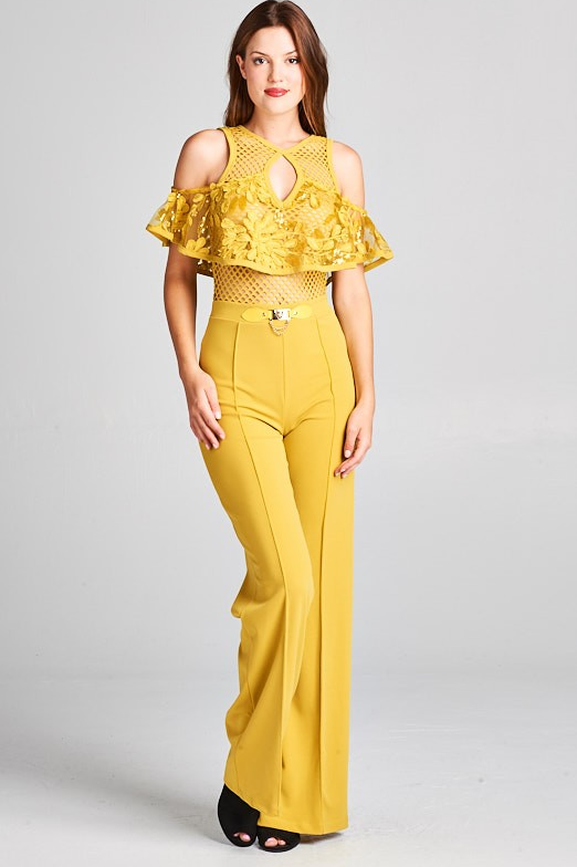 Cold Shoulder Lace Top Jumpsuit with Buckle Detail (Mustard Color)
