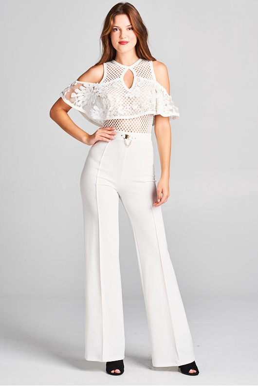 Cold Shoulder Lace Top Jumpsuit with Buckle Detail (White)