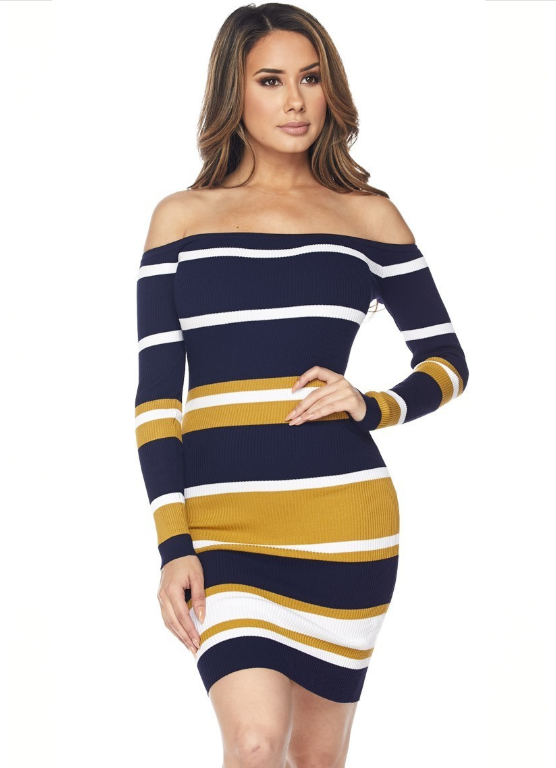 Multi Stripe Off-Shoulder Bodycon Dress - Navy