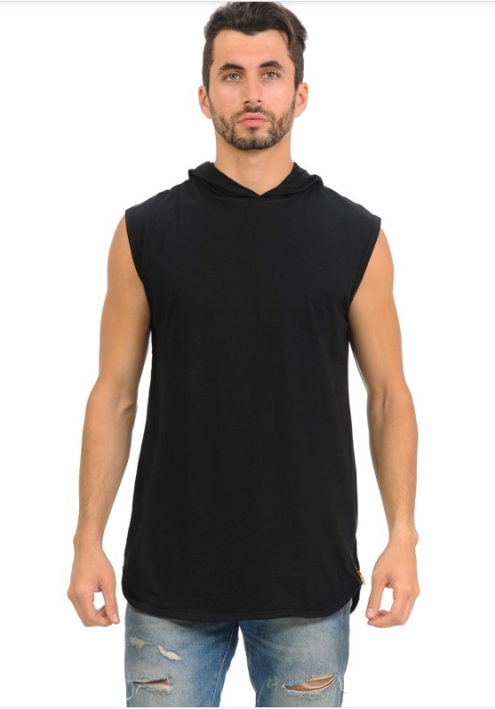 Henry & William Urban Sleeveless Hipster Hoodie - Black (Zipper Finish)