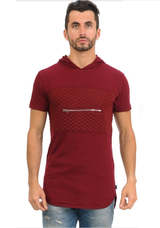Henry & William Urban Short Sleeve Hipster Hoodie - Burgundy (Zipper Finish)