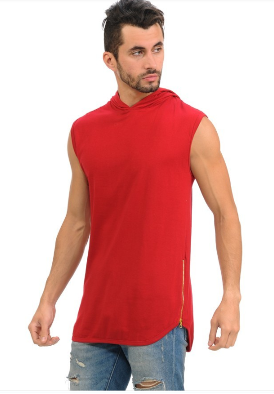 Henry & William Urban Sleeveless Hipster Hoodie - Red (Zipper Finish)