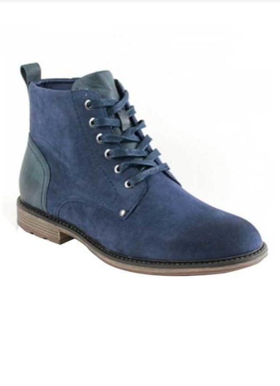 Men's Lace-up Ankle Boots (Navy Blue)