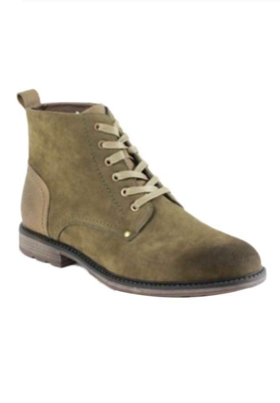 Men's Lace-up Ankle Boots (Olive)
