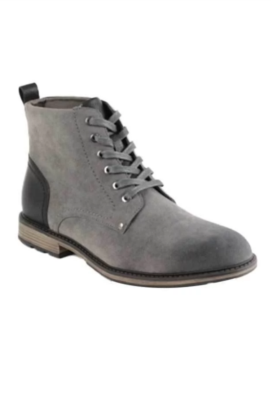 Men's Lace-up Ankle Boots (Grey)