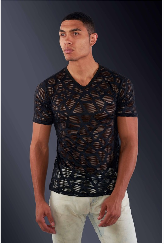 Stylish Crochet V Neck Slim Fit Shirt