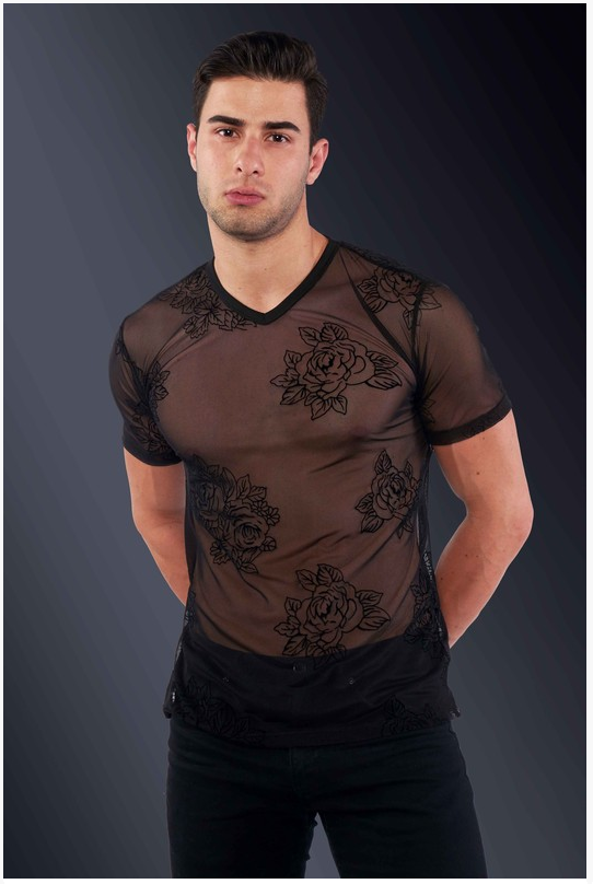Stylish Black Floral See-Through Slim Fit Shirt