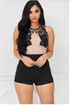 Mesh Panel Romper with Floral Bra Patch