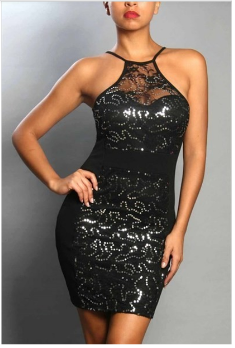 The Party Don't Stop Black Sequin Dress